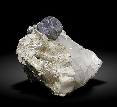 Galena with Baryte, Pyrite and Quartz.