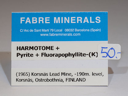 Harmotome with Pyrite and Fluorapophyllite-(K)