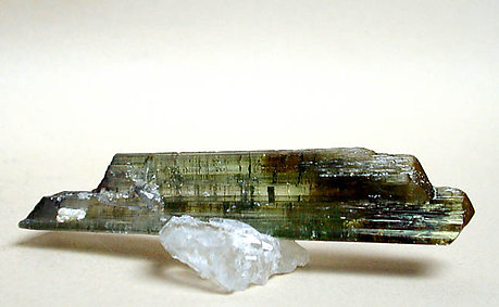 Elbaite doubly terminated with Quartz.