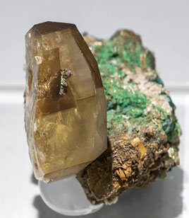 Baryte with Malachite and Pyrite. Side