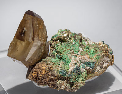 Baryte with Malachite and Pyrite. Front