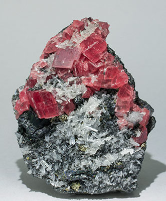 Rhodochrosite with Quartz, Tetrahedrite and Pyrite.