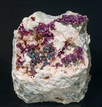 Mg-rich Roselite with Cu-rich Cobaltaustinite and Cobaltlotharmeyerite on Dolomite.