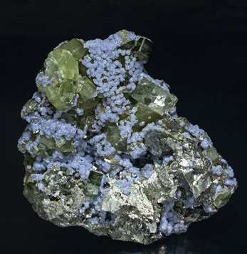 Fluorite with Fluorapatite, Arsenopyrite, Calcite and Muscovite.