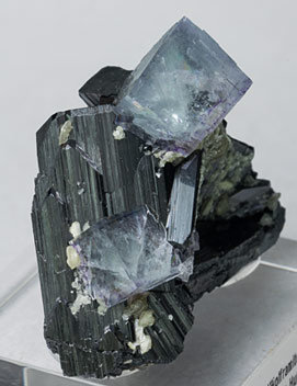 Fluorite with Ferberite and Muscovite. Side