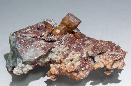 Wulfenite with Calcite-Dolomite.