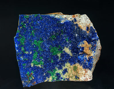 Azurite with Malachite, Olivenite and Baryte.