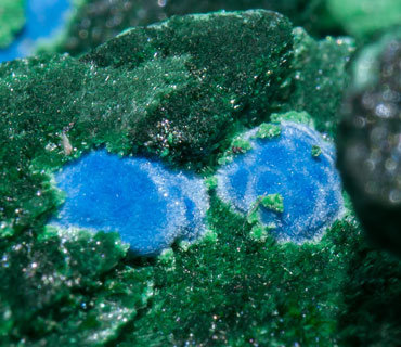 Malachite after Azurite with Plancheite.