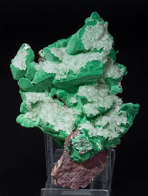 Malachite after Azurite with Baryte.
