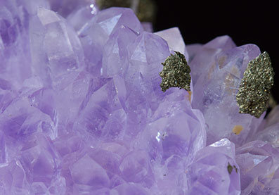 Quartz (variety amethyst) with Pyrite.