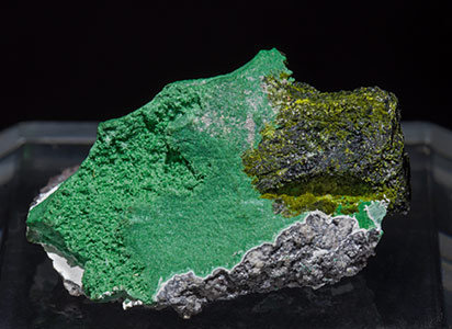 Volborthite with Malachite. Front