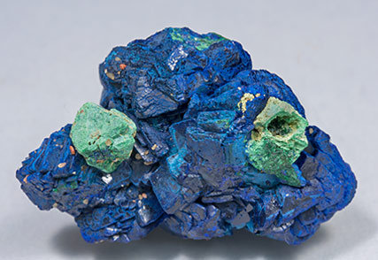 Azurite with Malachite after Cuprite. Rear