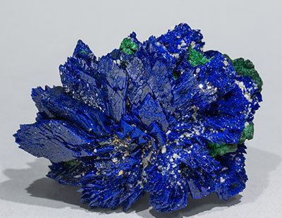 Azurite with Malachite and Baryte. Side
