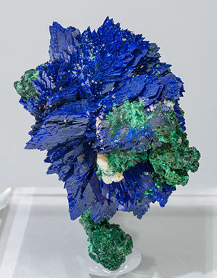 Azurite with Malachite and Baryte. Front
