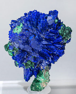 Azurite with Malachite and Baryte. Rear