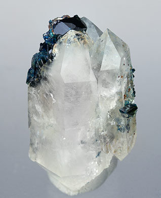 Doubly terminated Quartz with Lazulite. Front