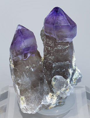 Quartz (variety amethyst) with Quartz (variety smoky). Front