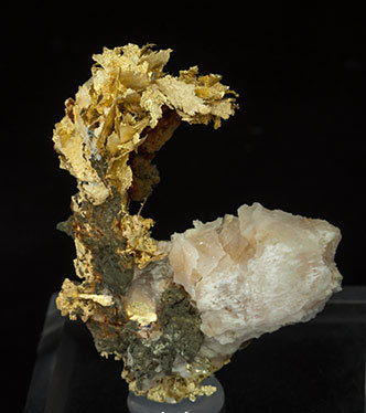 Gold (variety electrum) with Calcite.