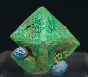 Malachite after Cuprite and Azurite. Front