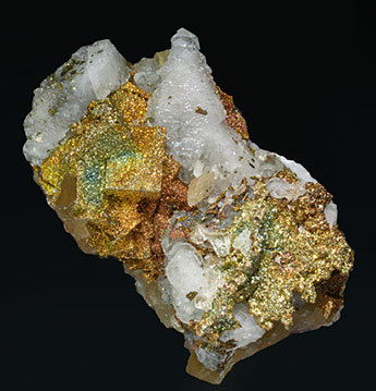 Pyrite with Fluorite and Calcite.