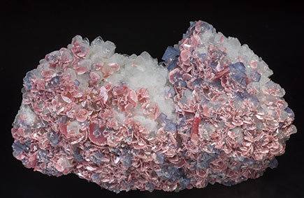 Rhodochrosite with Fluorite and Quartz.
