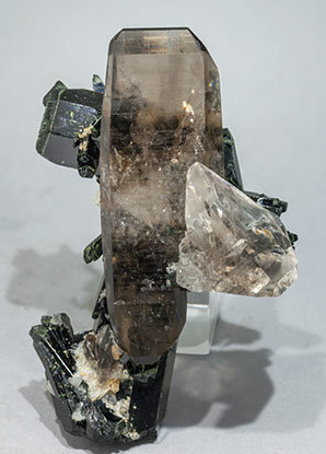 Aegirine with Quartz (variety smoky)  and Feldspar. Front