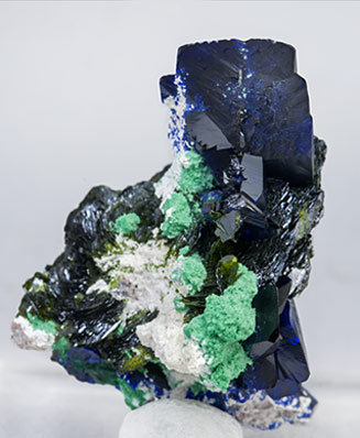 Volborthite with Azurite and Malachite. Rear