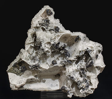 Quartz after Calcite with Sphalerite and Pyrite. Rear