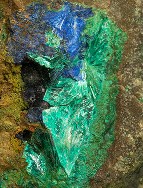 Tyrolite with Azurite and Chrysocolla.