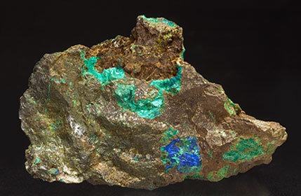 Tyrolite with Azurite and Chrysocolla. Rear