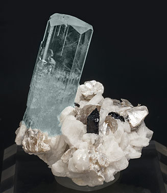 Beryl (variety aquamarine) with Feldspar, Mica and Schorl. Front