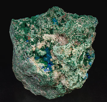 Caledonite with Chlorargyrite (variety embolite) and Linarite.