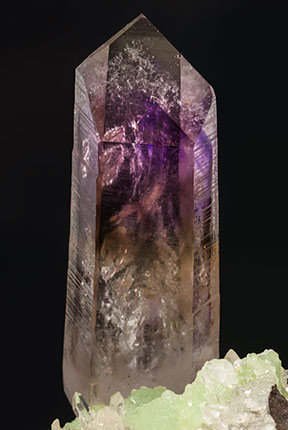 Quartz (variety amethyst) with Prehnite, Quartz and Calcite.