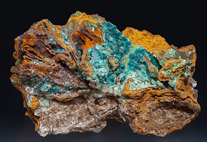Rosasite with Aurichalcite and Gypsum.