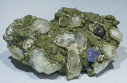 Topaz with Pyrite, Cassiterite, Fluorite, Muscovite and Chlorite.