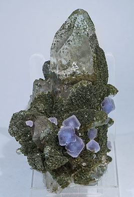 Fluorite with Quartz, Muscovite and Chlorite. Side