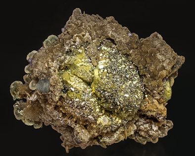 Chalcopyrite with Arsenopyrite, Fluorapatite, Siderite and Muscovite. Front
