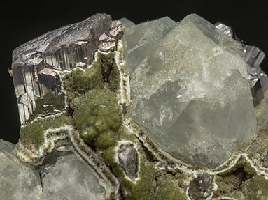 Topaz with Arsenopyrite, Fluorite, Muscovite and Chlorite.