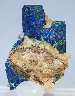Chalcostibite with Azurite and Malachite. Rear
