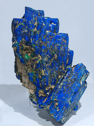 Chalcostibite with Azurite and Malachite.