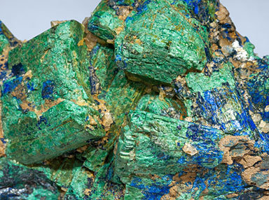 Chalcostibite with Azurite and Malachite. Close up