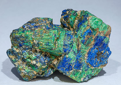 Chalcostibite with Azurite and Malachite. Front