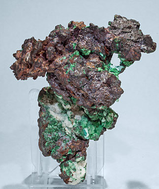 Copper with Cuprite, Calcite and Malachite. Front