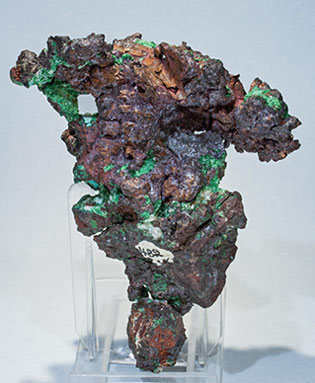 Copper with Cuprite, Calcite and Malachite. Rear