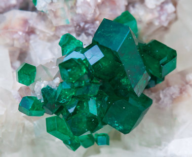 Dioptase with Dolomite.