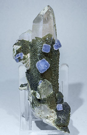 Fluorite with Quartz, Muscovite and Chlorite.