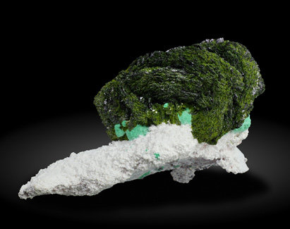 Volborthite with Malachite, Azurite and Dickite. Rear
