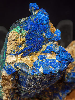 Chalcostibite with Azurite and Malachite. Top
