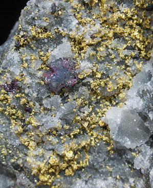 Gold with Cinnabar and Quartz.