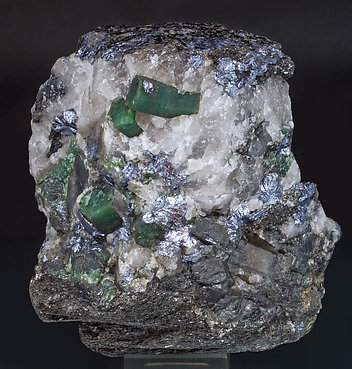 Beryl (variety emerald) with Molybdenite and Quartz.